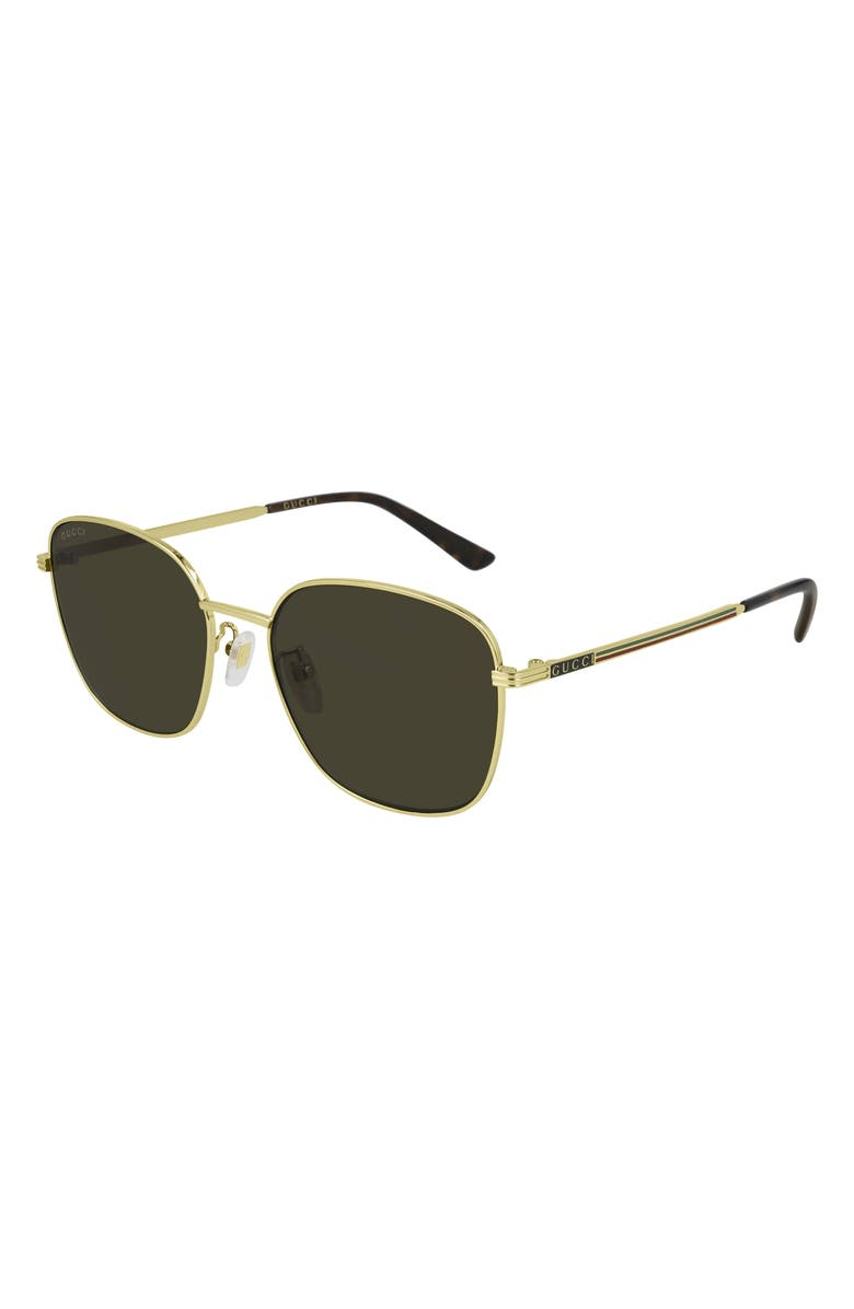 GUCCI 57mm Square Sunglasses, Main, color, ENDURA GOLD/ BROWN
