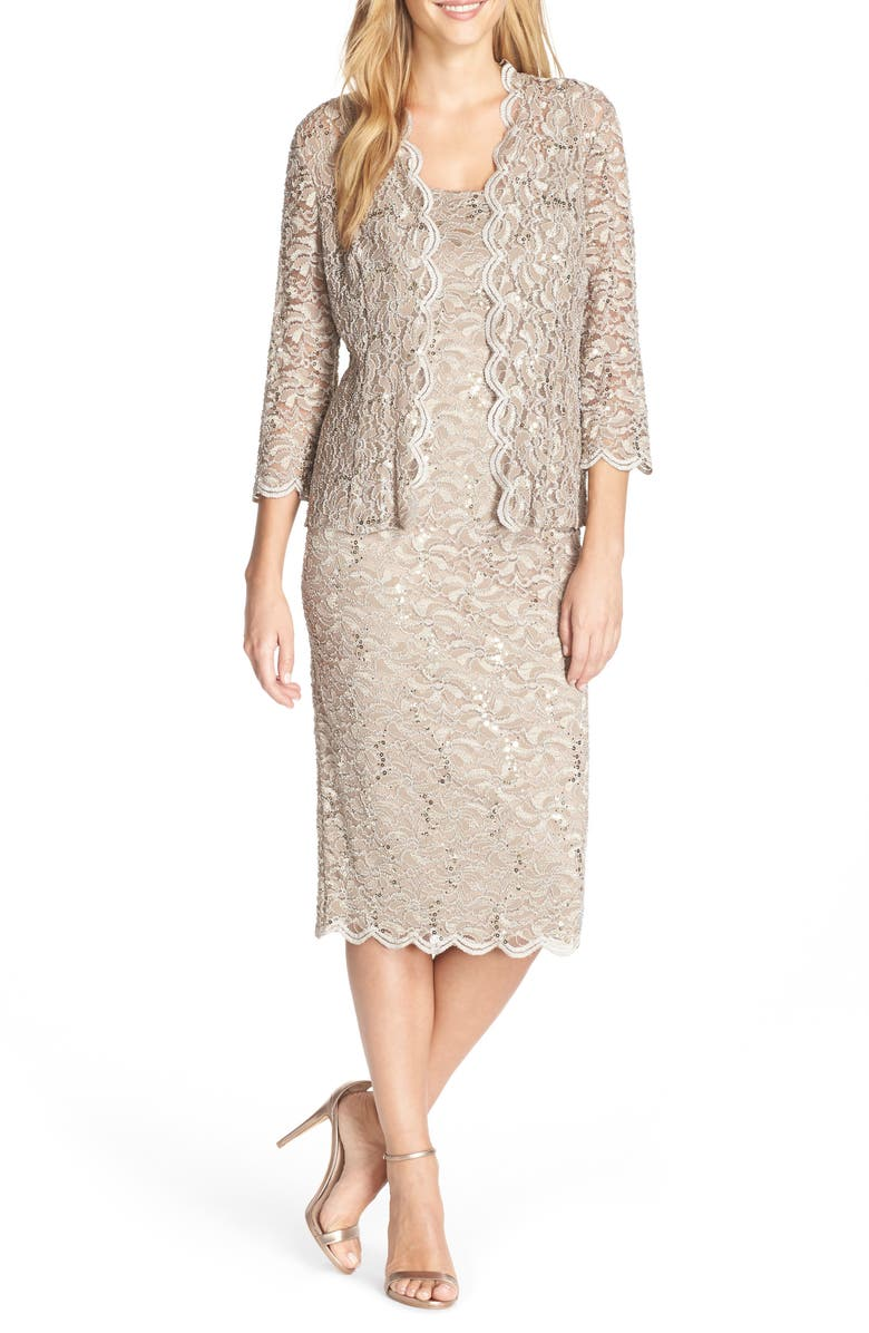ALEX EVENINGS Lace Cocktail Dress with Jacket, Main, color, CHAMPAGNE