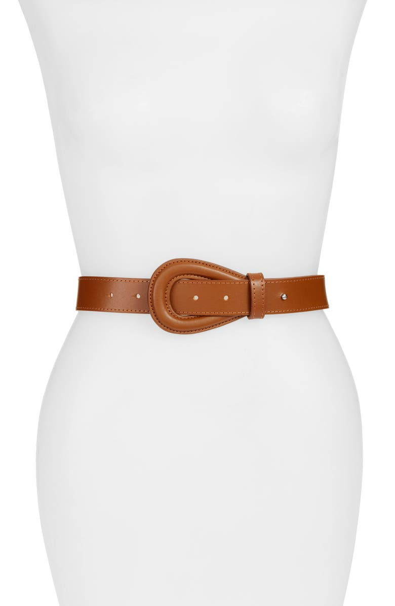 HALOGEN<SUP>®</SUP> Teardrop Buckle Leather Belt, Main, color, COGNAC