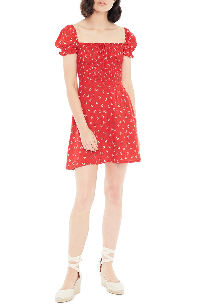 FAITHFULL THE BRAND Genevieve Jeanne Floral Minidress, Main, color, 604