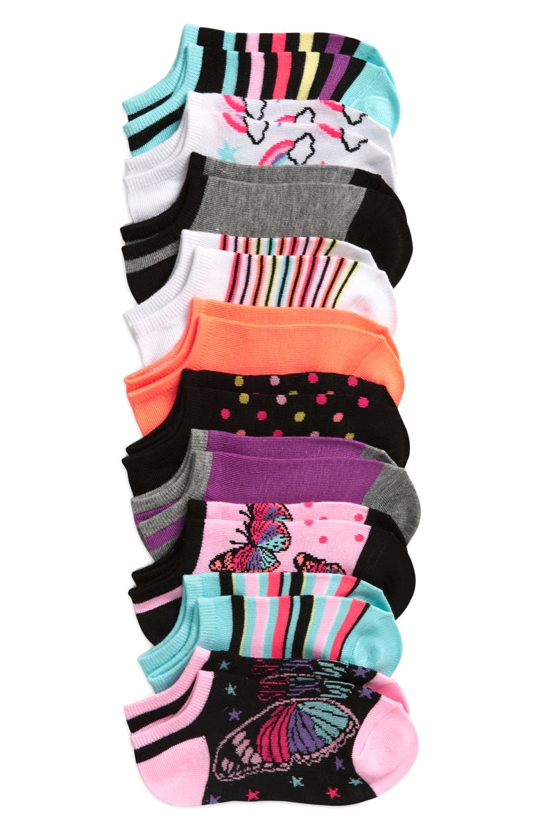 CAPELLI NEW YORK Butterfly Dream 10-Pack No Show Socks, Main, color, 400