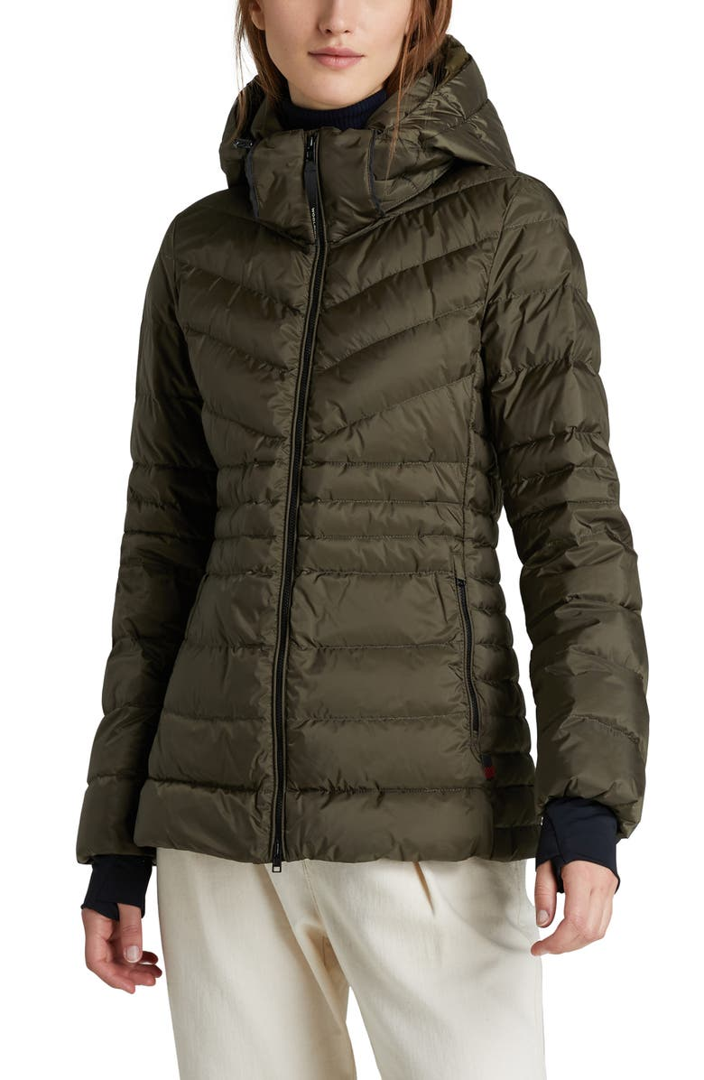 WOOLRICH Tech Windproof & Waterproof Hooded Puffer Jacket, Main, color, DARK GREEN