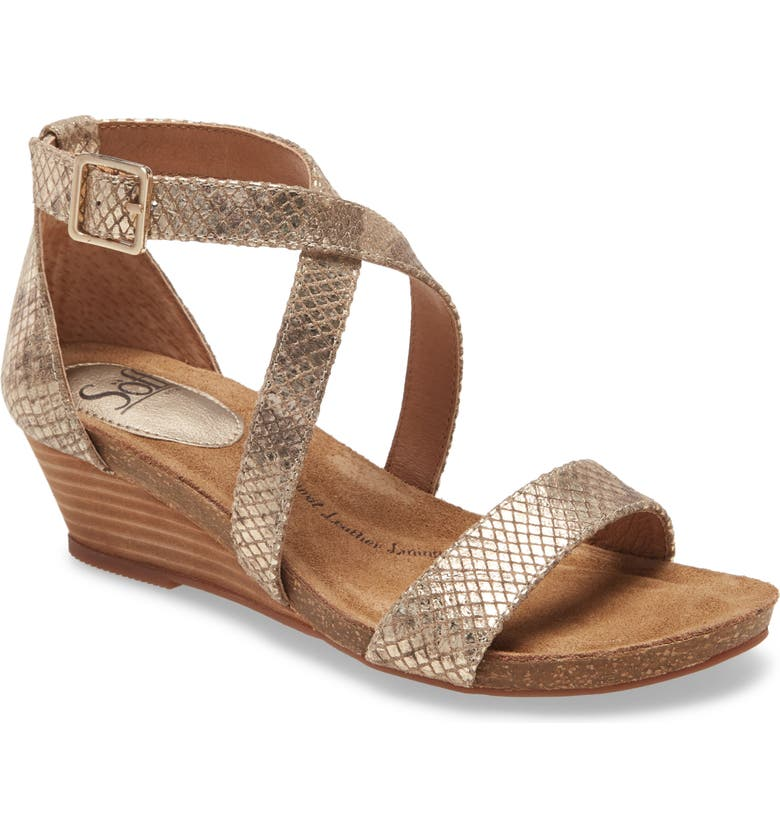 SÖFFT Valeryn Wedge Sandal, Main, color, TAUPE/ GOLD LEATHER