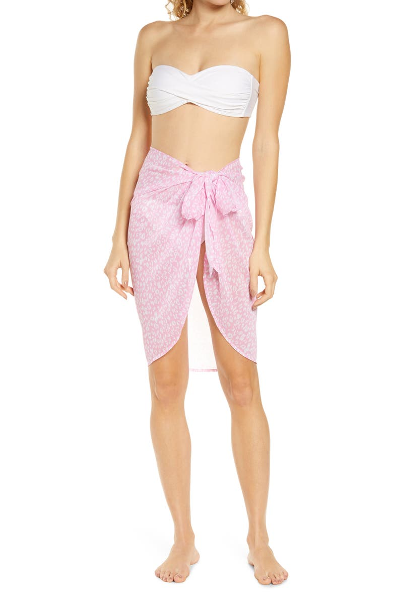 CHELSEA28 Ana Short Sarong Cover-Up, Main, color, PINK FLOWER ANIMAL SURFACE