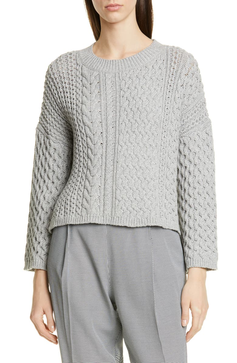 JASON WU Cable Knit Cotton Blend Sweater, Main, color, 060