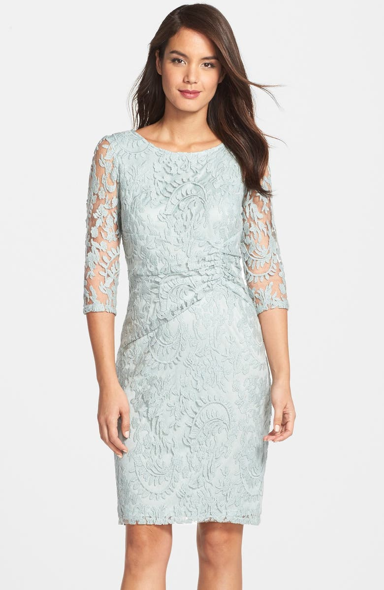 ADRIANNA PAPELL Ruched Lace Sheath Dress, Main, color, 332