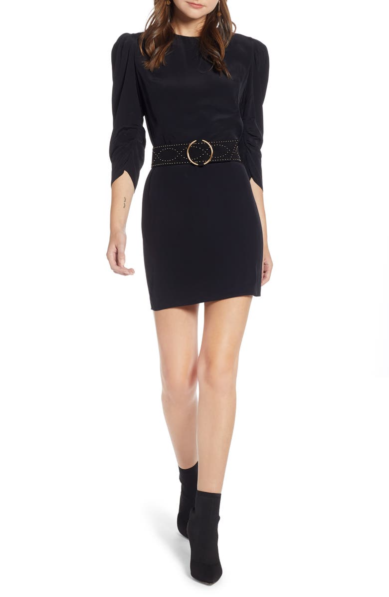 SOMETHING NAVY Sleeve Detail Minidress, Main, color, 001