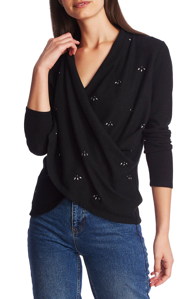 1.STATE Embellished Cross Front Top, Main, color, RICH BLACK