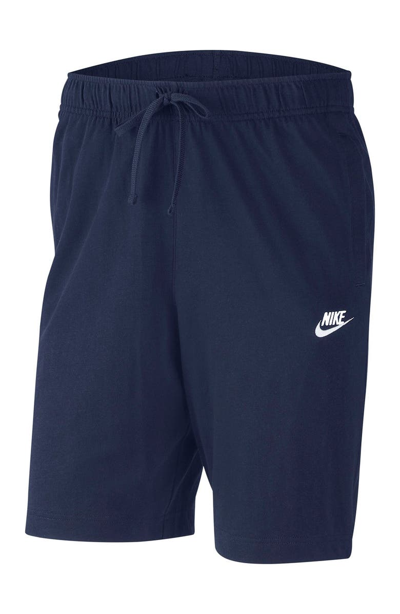 NIKE Sportswear Club Jersey Shorts, Main, color, MNNAVY/WHITE