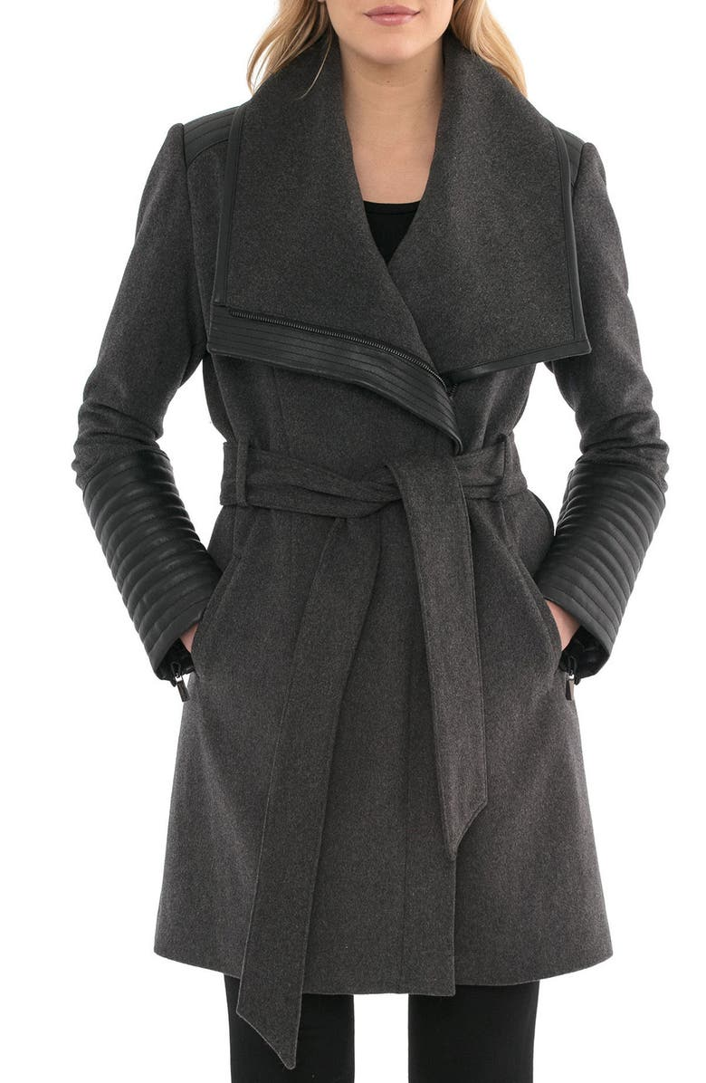 BELLE BADGLEY MISCHKA Belle Badgley Mischka 'Lorian' Faux Leather Trim Belted Asymmetrical Wool Blend Coat, Main, color, 023