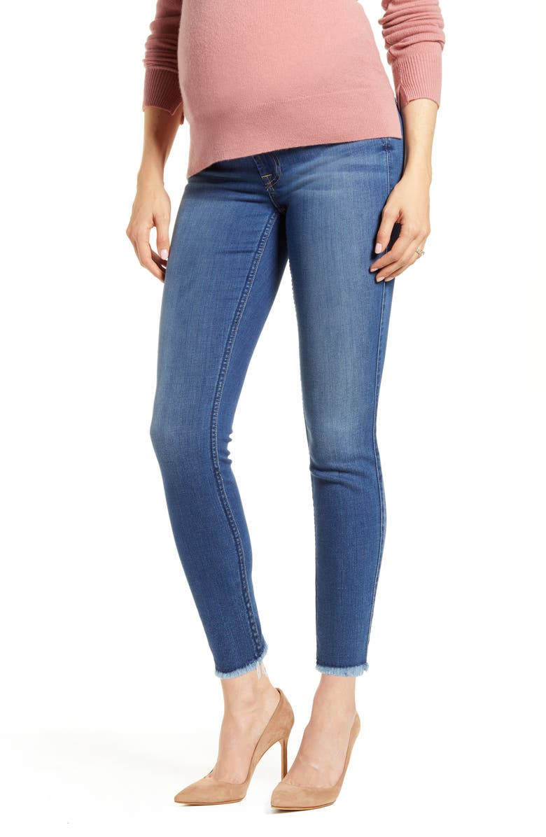 7 FOR ALL MANKIND<SUP>®</SUP> b(air) Raw Hem Ankle Skinny Maternity Jeans, Main, color, REIGN WITH RAW HEM