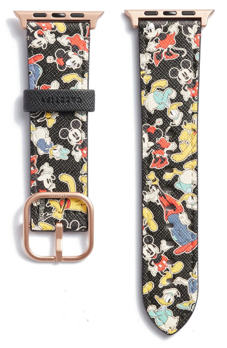 CASETIFY Disney x CASETiFY Mickey & Friends Saffiano Faux Leather Apple Watch<sup>®</sup> Band, Main, color, BLACK