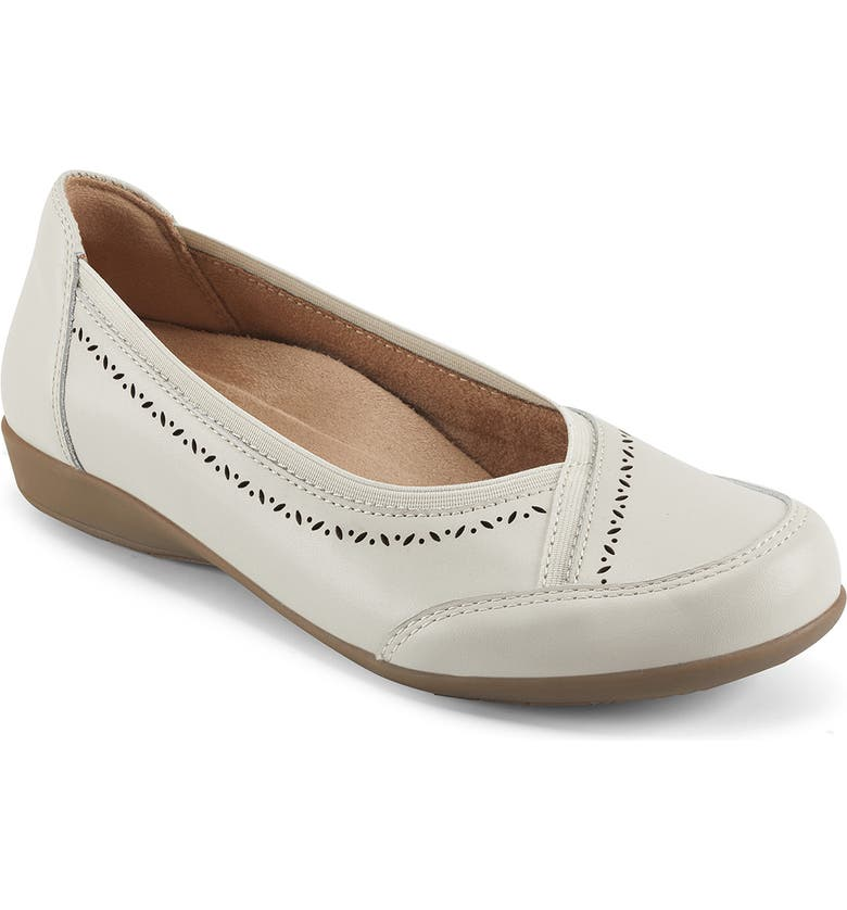 EARTH ORIGINS Betz Leather Ballet Flat - Wide Width, Main, color, SAND WHITE LEATHER