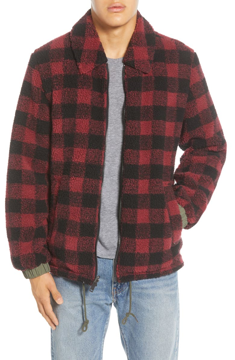 UGG<SUP>®</SUP> Mace Water Resistant Reversible Jacket, Main, color, RED PLAID / OLIVE