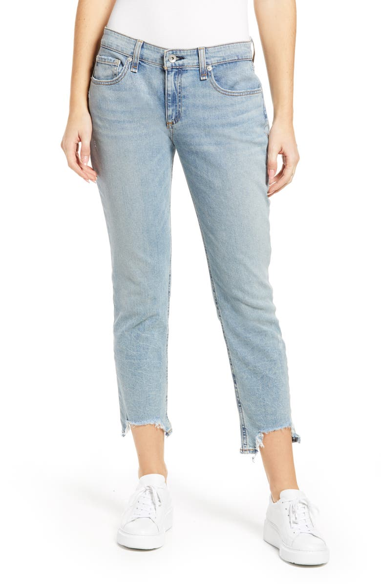 RAG & BONE Dre Bitten Step Hem Slim Boyfriend Jeans, Main, color, THUNDERBIRD