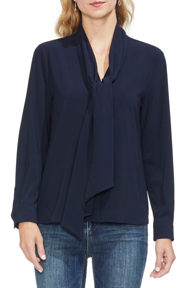 VINCE CAMUTO Tie Neck French Crepe Blouse, Main, color, 407