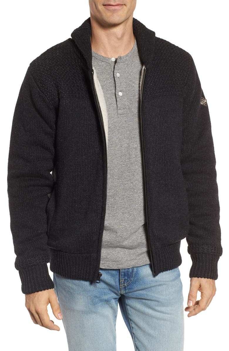 SCHOTT NYC Lined Wool Zip Sweater, Main, color, BLACK