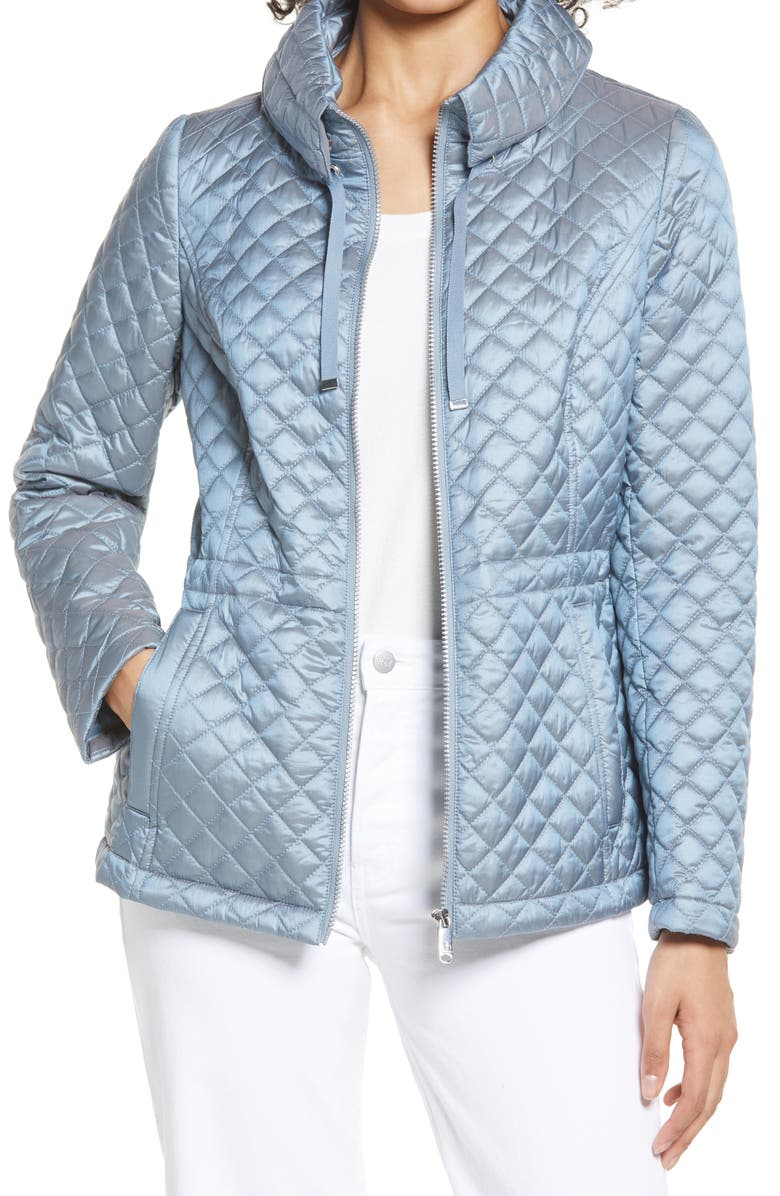 SAM EDELMAN Water Repellent Quilted Jacket, Main, color, BLUE SLATE