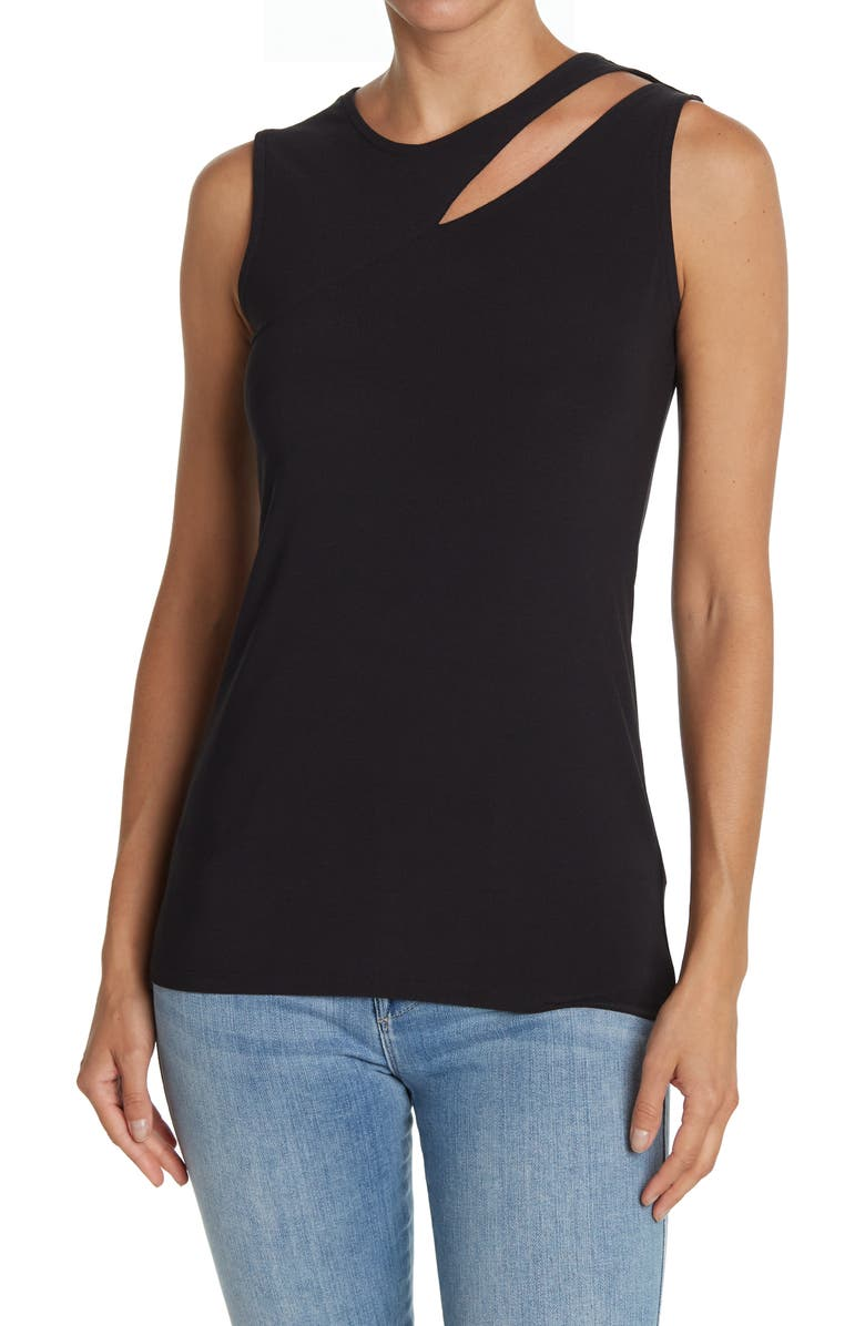 14TH AND UNION Cut Out Detail Tank Top, Main, color, BLACK
