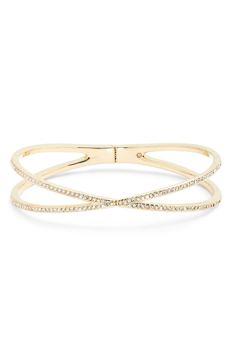 NORDSTROM Pavé Crisscross Hinged Cuff Bracelet, Main, color, CLEAR- GOLD