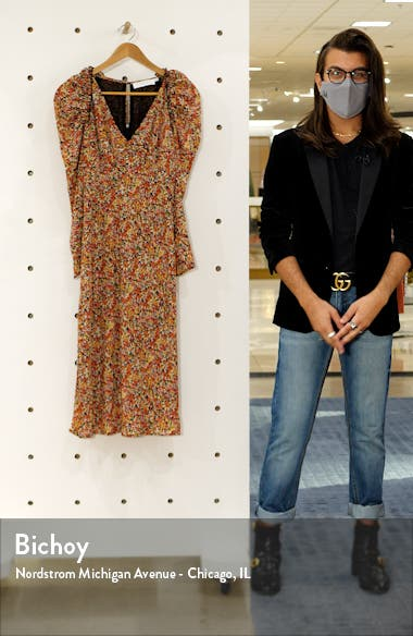 Floral Ruched Long Sleeve Midi Dress, sales video thumbnail