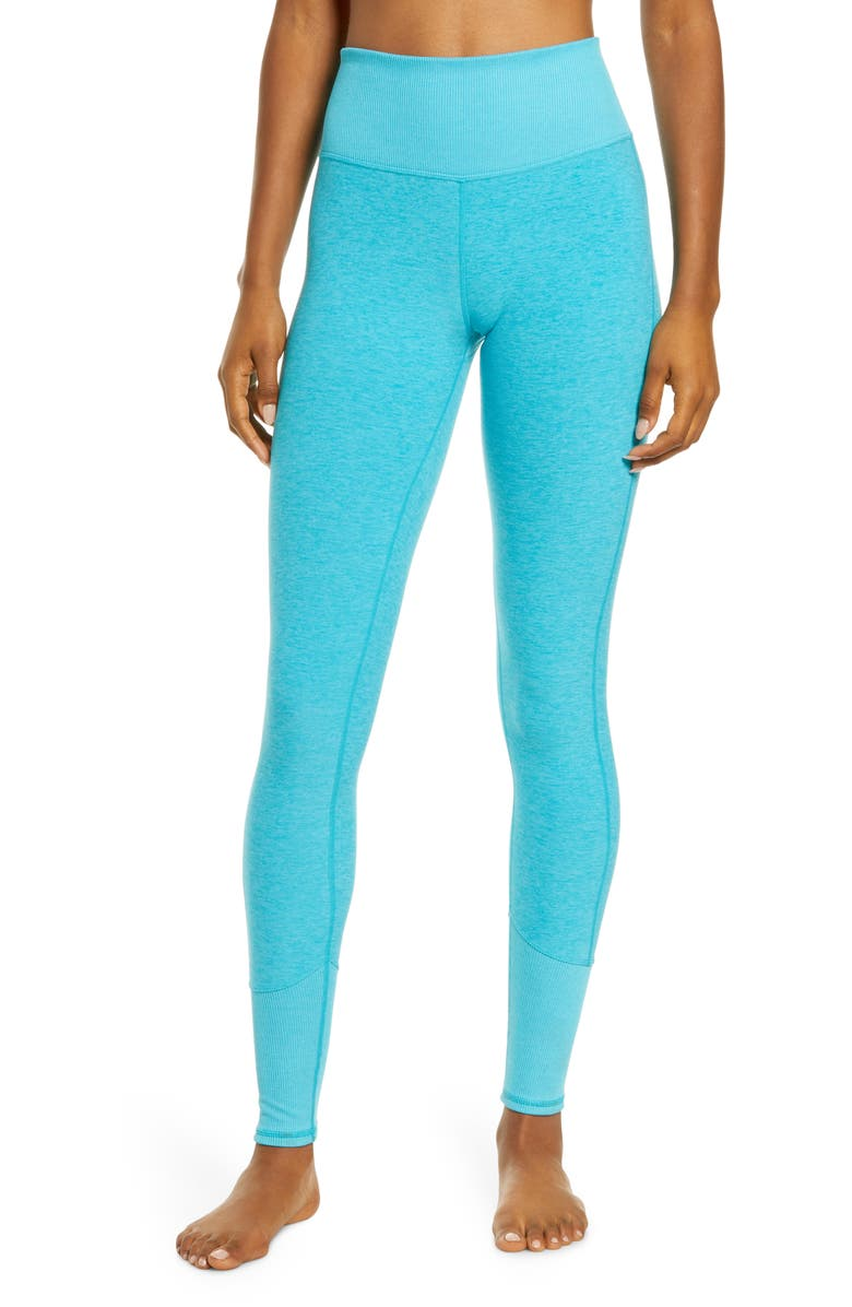 ALO High Waist Lounge Leggings, Main, color, BRIGHT AQUA HEATHER