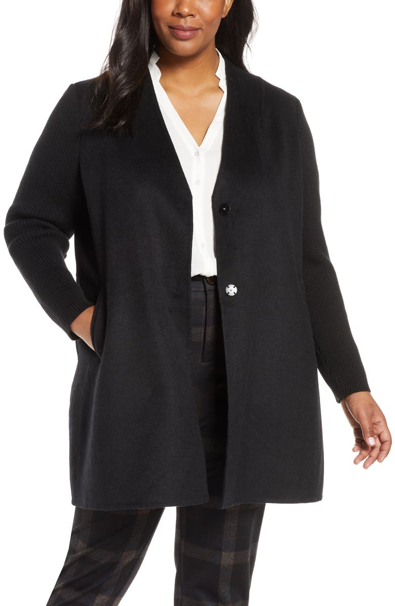 KENNETH COLE NEW YORK Knit Sleeve Wool Blend Coat, Main, color, BLACK