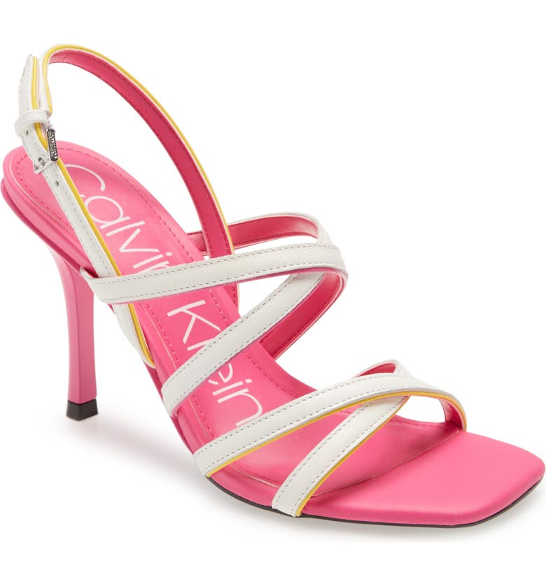 CALVIN KLEIN Miu Strappy Sandal, Main, color, PINK/ YELLOW PATENT LEATHER