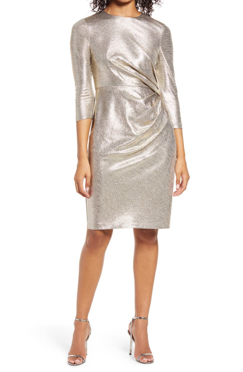 VINCE CAMUTO Side Ruched Cocktail Dress, Main, color, Silver