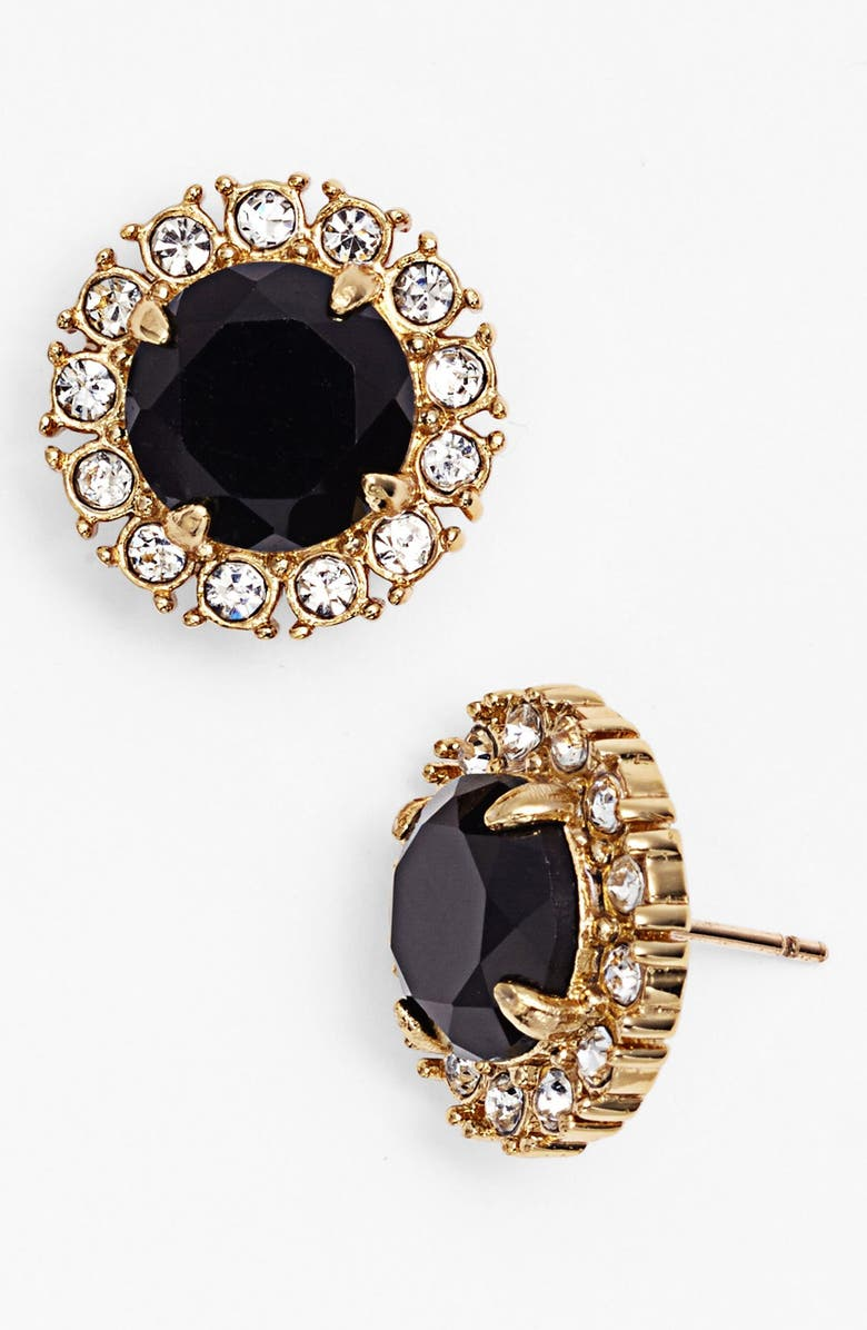KATE SPADE NEW YORK 'secret garden' mixed stone stud earrings, Main, color, JET/ CLEAR/ GOLD