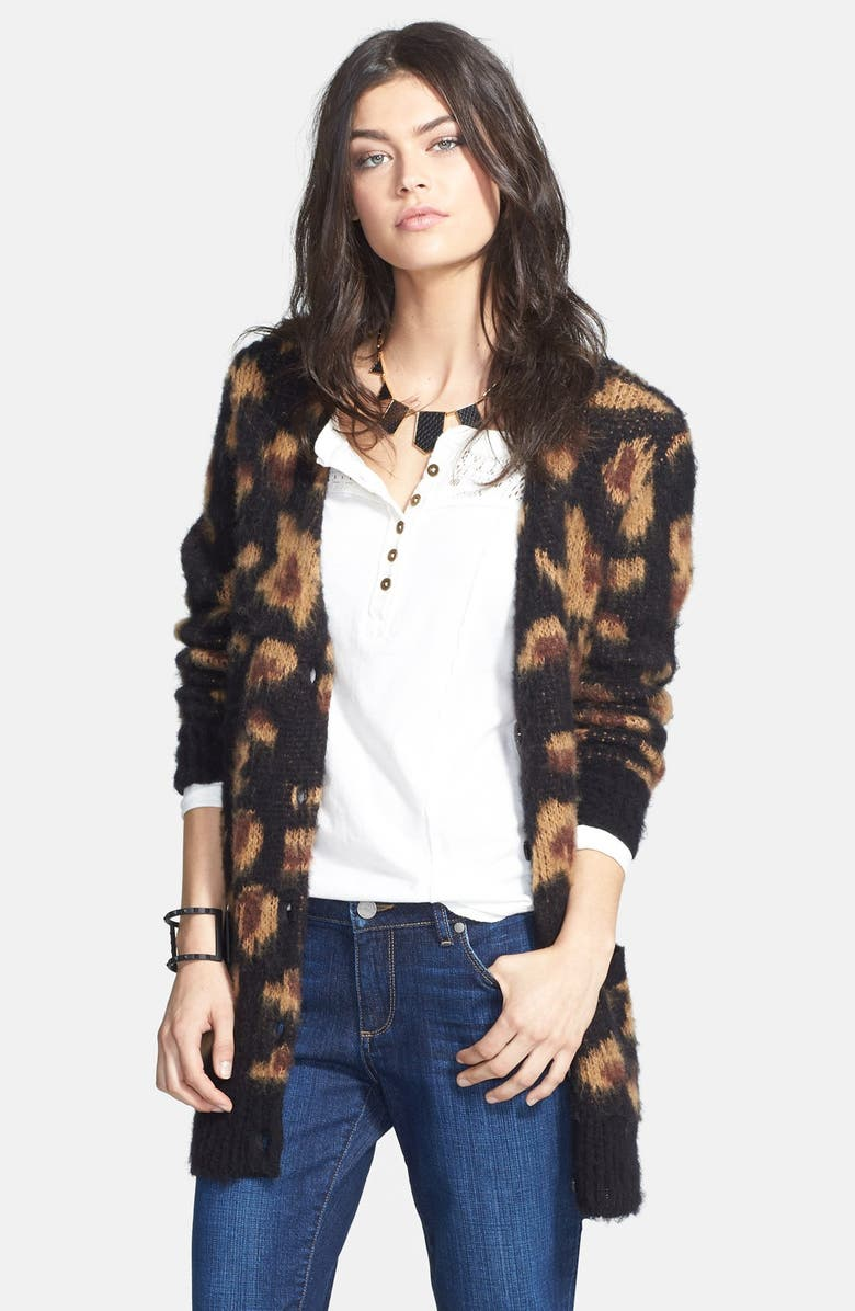 FREE PEOPLE 'Sweater Out of Africa' Long Cardigan, Main, color, 001
