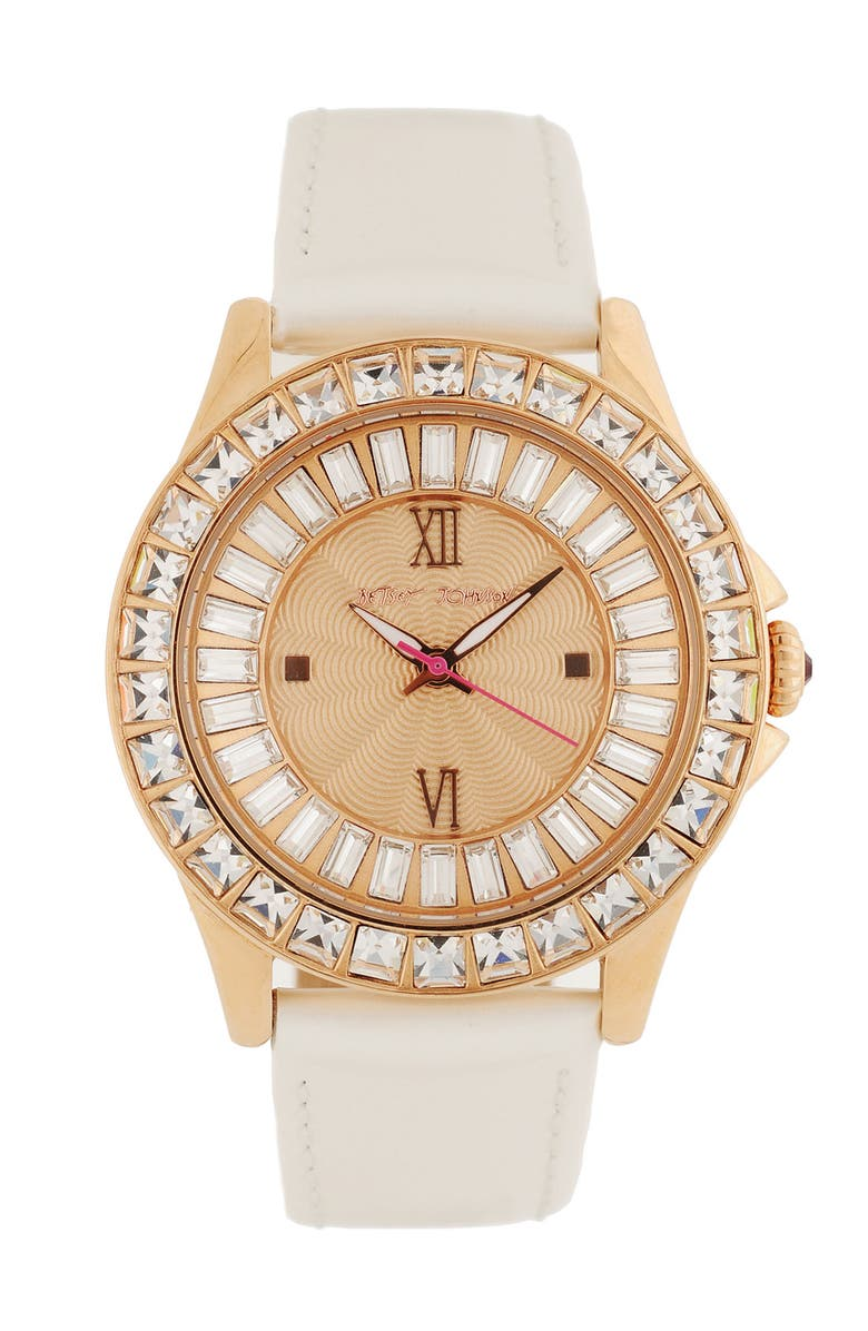 BETSEY JOHNSON 'Bling Bling Time' Leather Strap Watch, 40mm, Main, color, ROSE GOLD