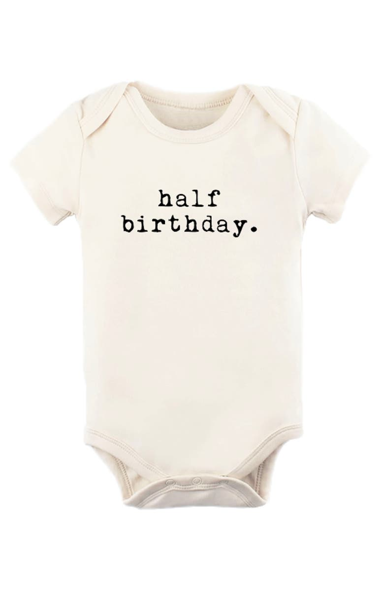 TENTH & PINE Half Birthday Organic Cotton Bodysuit, Main, color, NATURAL