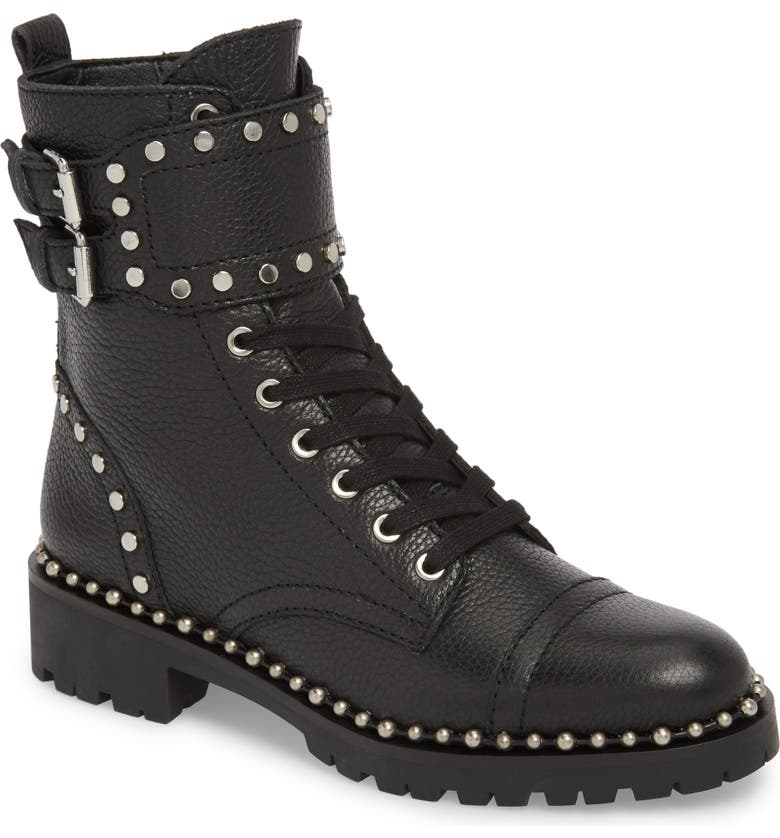 SAM EDELMAN Jennifer Studded Combat Boot, Main, color, 001