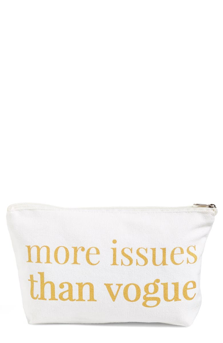LEVTEX 'More Issues than Vogue' Zip Pouch, Main, color, White