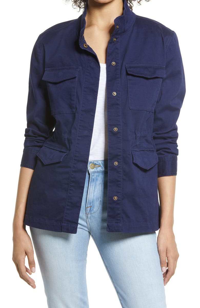 CASLON<SUP>®</SUP> Twill Utility Jacket, Main, color, NAVY PEACOAT