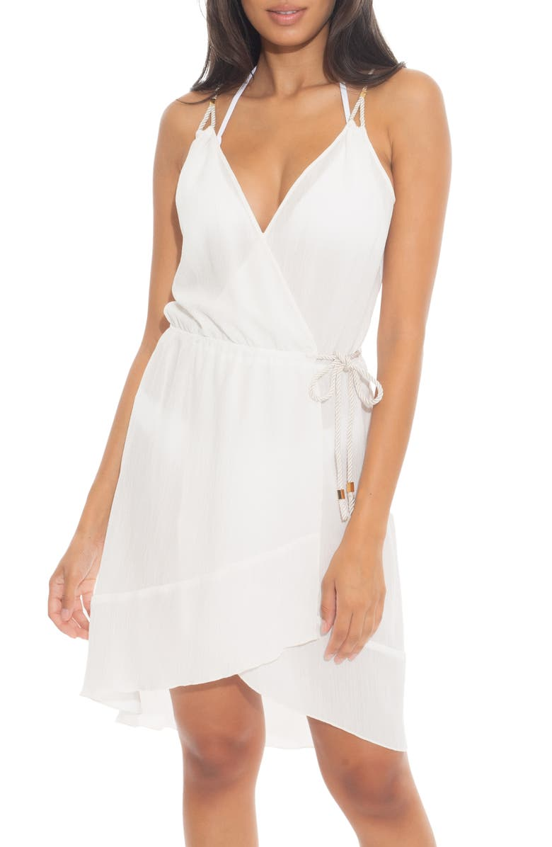 BECCA With a Twist High/Low Cover-Up Wrap Dress, Main, color, WHITE