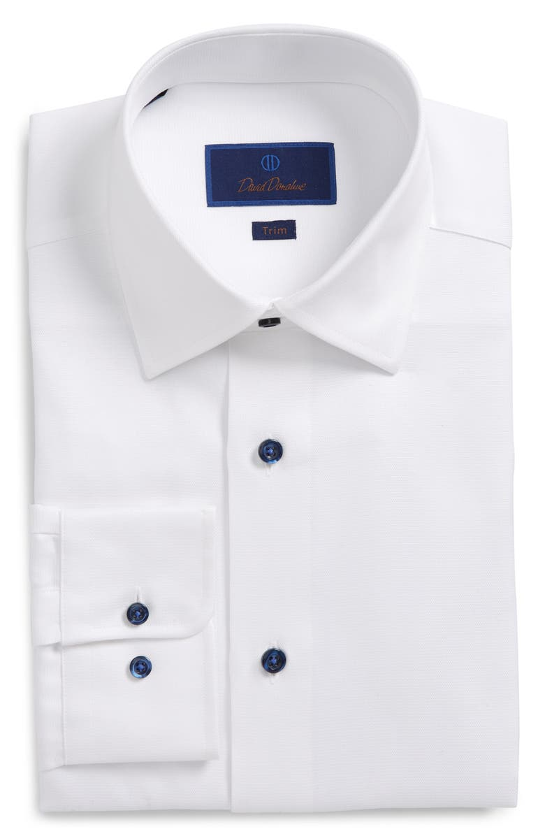 DAVID DONAHUE Trim Fit Solid Dress Shirt, Main, color, WHITE
