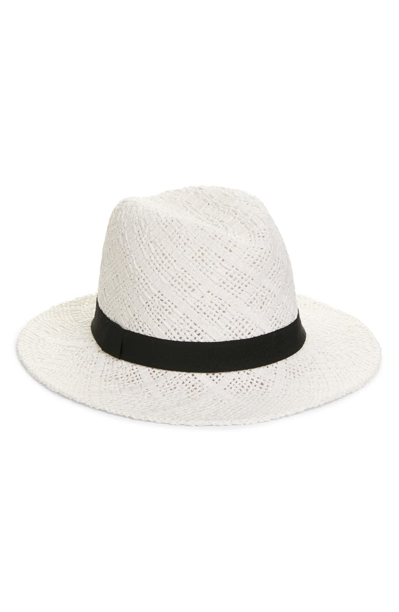HALOGEN<SUP>®</SUP> Straw Panama Hat, Main, color, WHITE COMBO