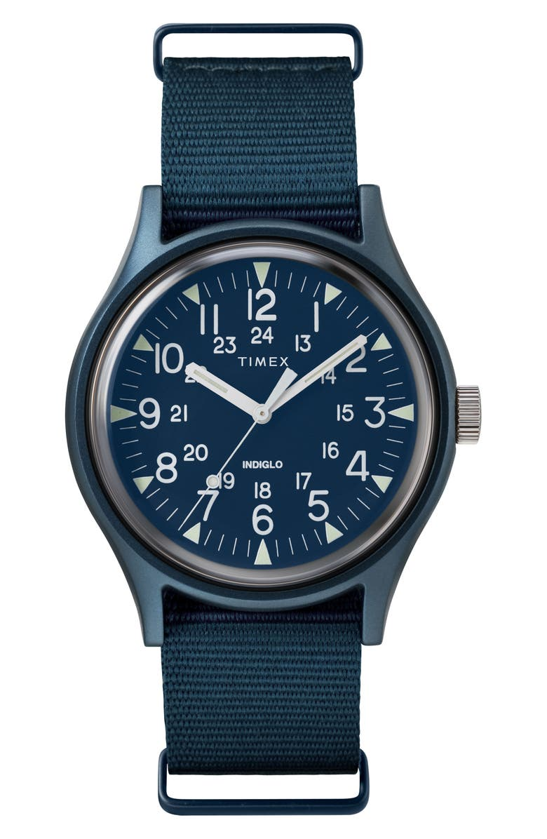 TIMEX<SUP>®</SUP> Timex MK1 Nylon Strap Watch, 40mm, Main, color, BLUE
