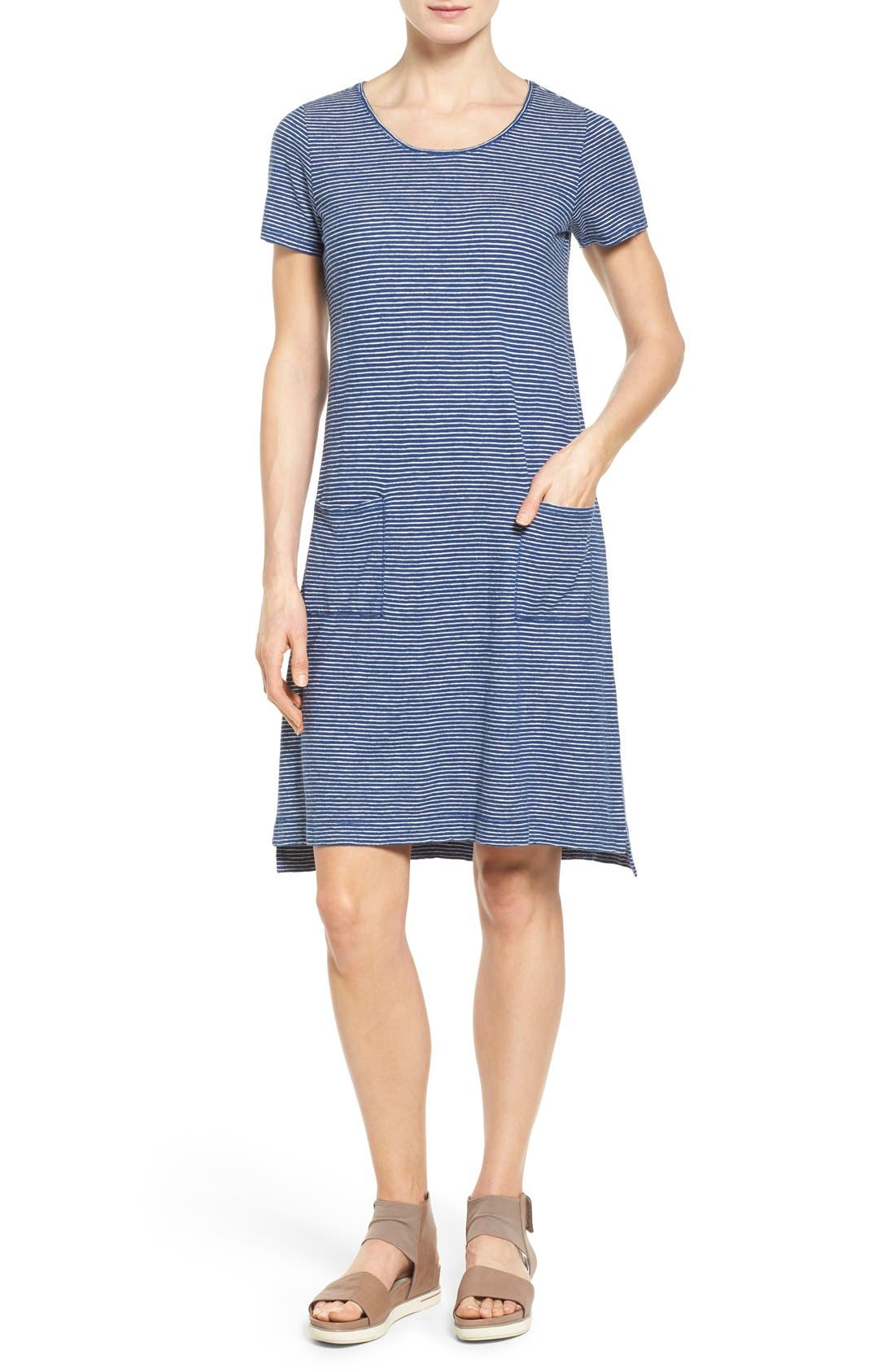 Eileen Fisher Hemp Blend Stripe T Shirt Dress Regular Petite Nordstrom