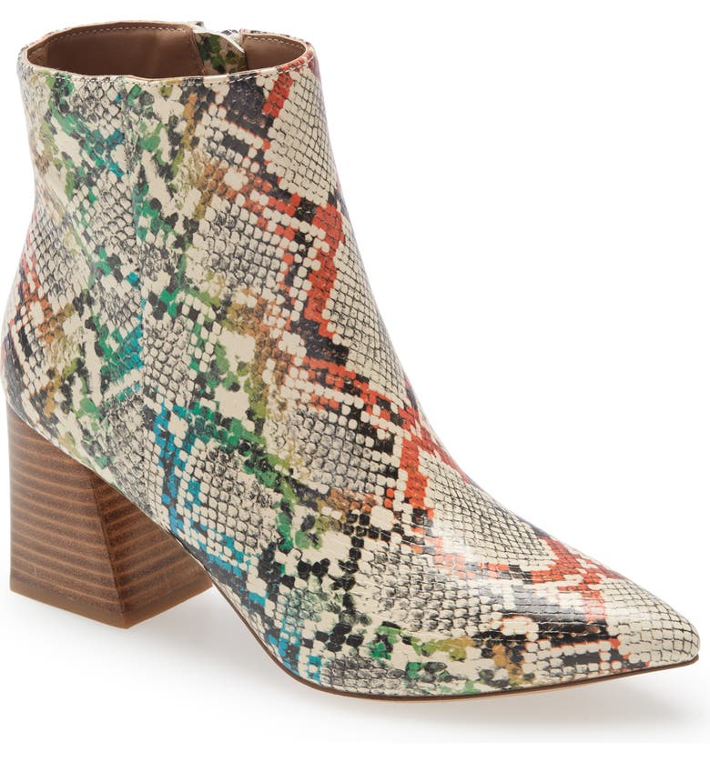 STEVE MADDEN Nix Pointed Toe Bootie, Main, color, RAINBOW SNAKE PRINT