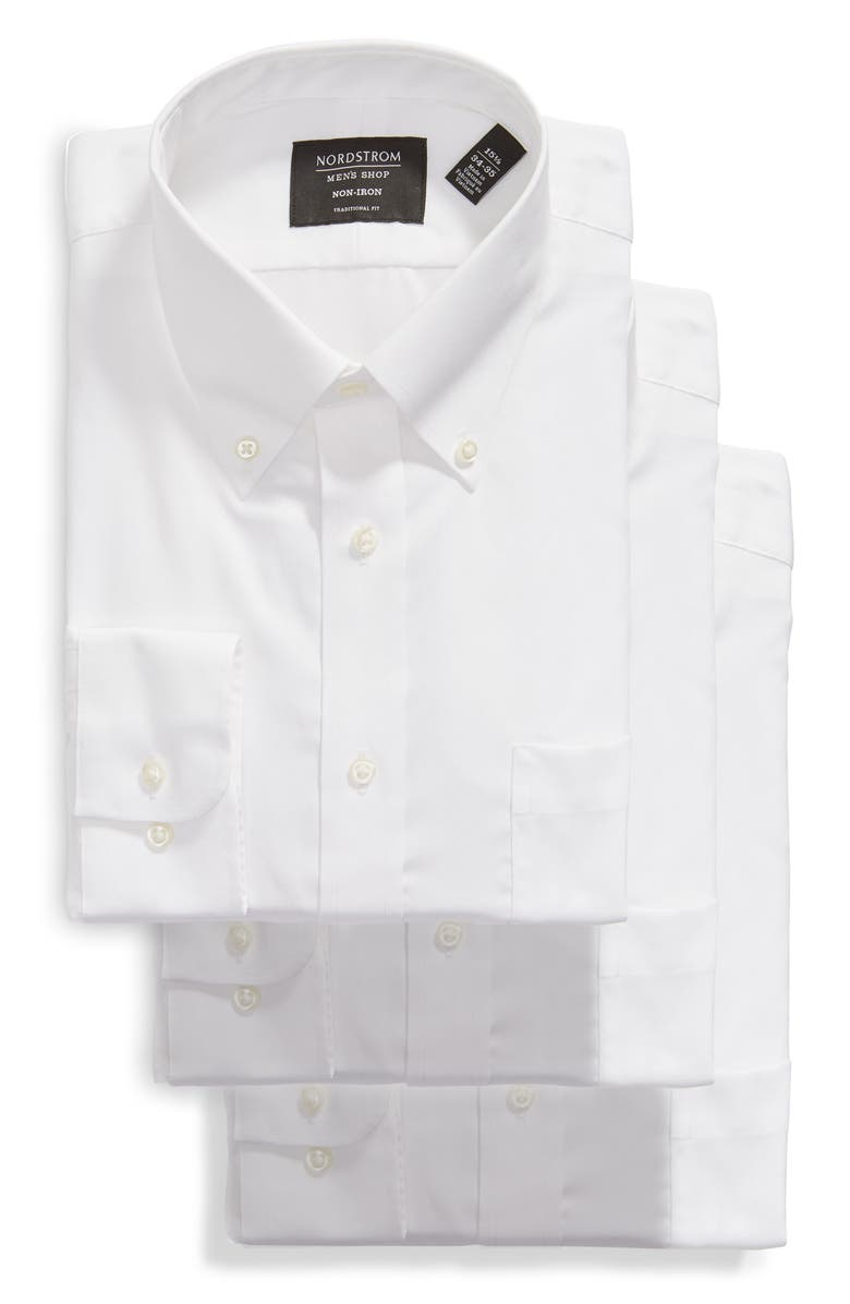 NORDSTROM MEN'S SHOP Nordstrom 3-Pack Traditional Fit Non-Iron Dress Shirts, Main, color, WHITE