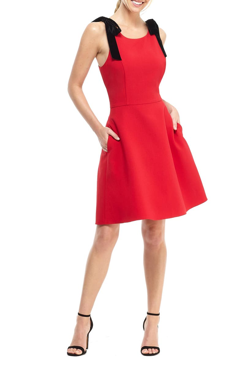 GAL MEETS GLAM COLLECTION Zara Fit & Flare Dress with Velvet Shoulder Ties, Main, color, 617