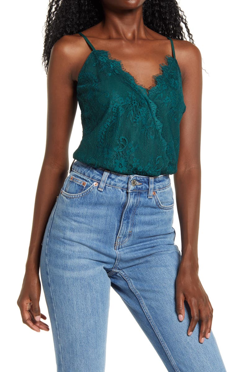 WAYF x BFF Natalie Lace Camisole Bodysuit, Main, color, DARK GREEN LACE