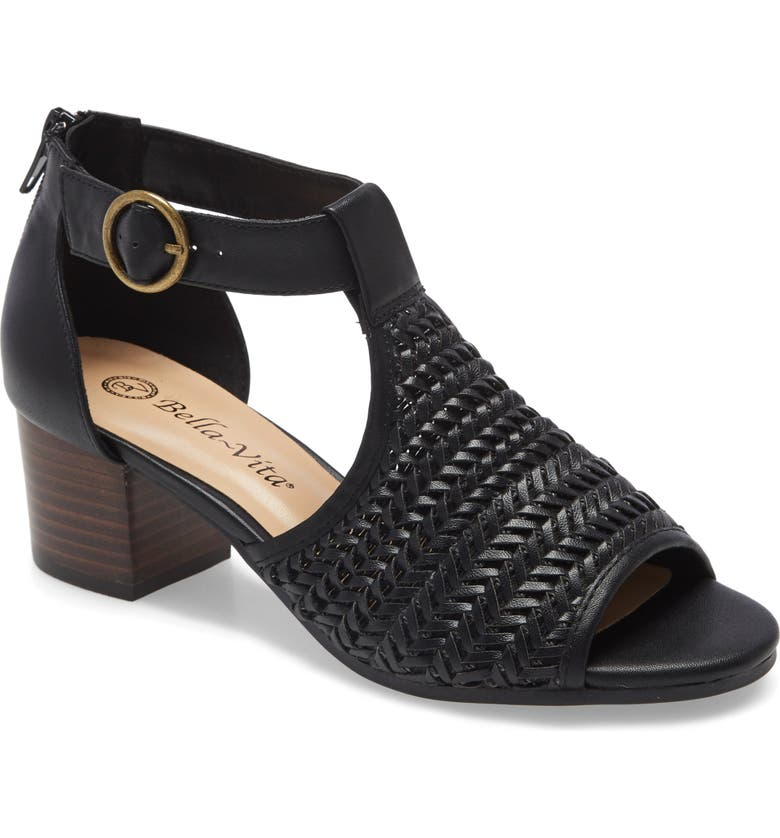 BELLA VITA Ripley II Sandal, Main, color, BLACK WOVEN