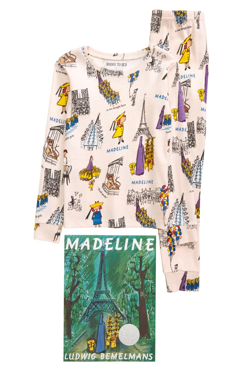 HATLEY x Books to Bed Kids' Madeline Book & Fitted Organic Cotton Two-Piece Pajamas, Main, color, 650