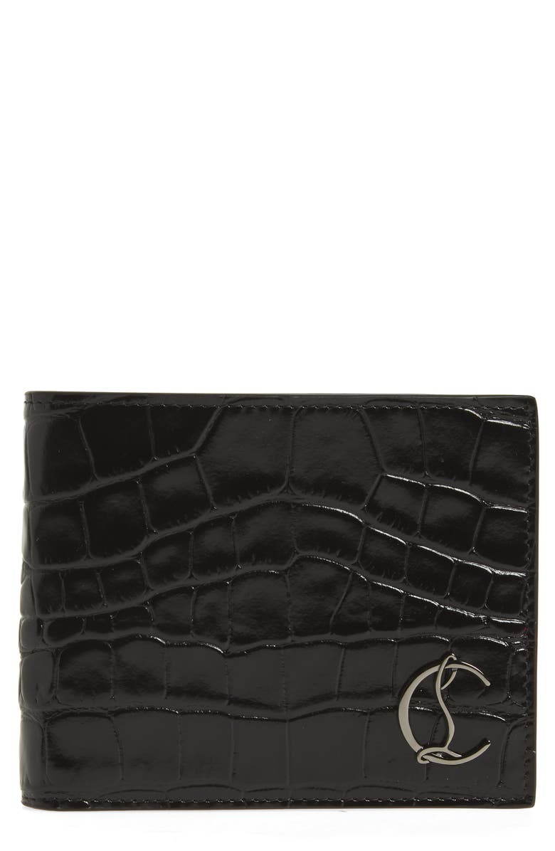 CHRISTIAN LOUBOUTIN Coolcard Croc Embossed Leather Wallet, Main, color, BLACK/ GUN METAL