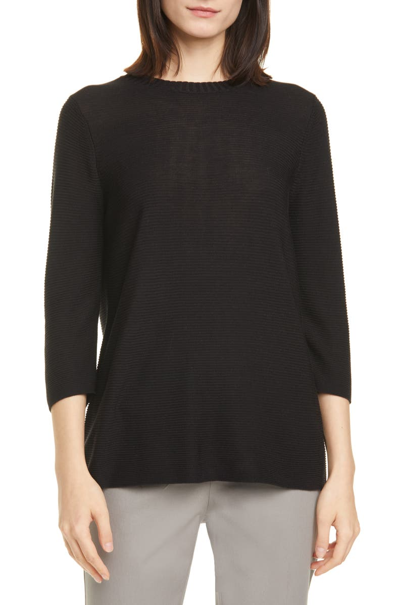 EILEEN FISHER Horizontal Ribbed Crewneck Sweater, Main, color, 001