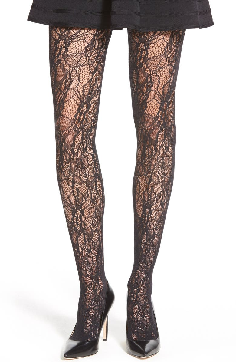 WOLFORD 'Clair' Lace Tights, Main, color, BLACK